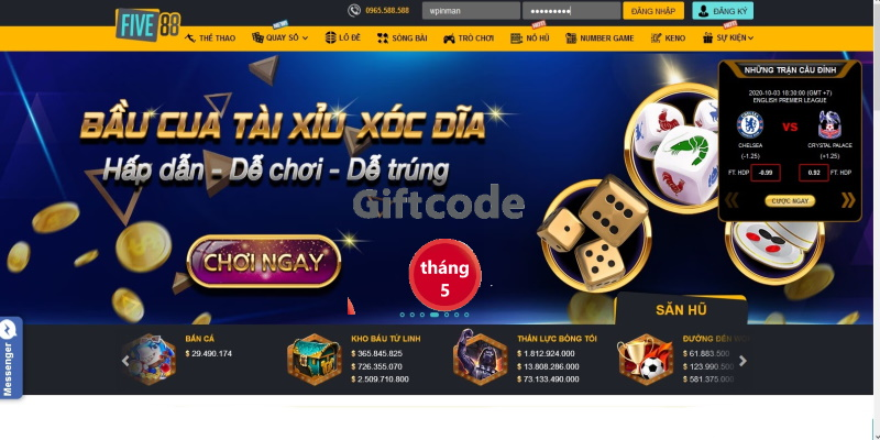 Giftcode của Five88