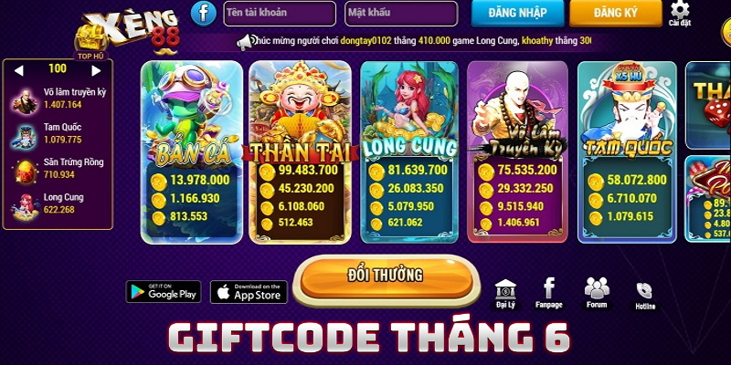 Giftcode của Xeng88